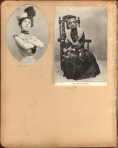 "Annie Russell and Mrs. G. H. Gilbert in ""Catherine"" in Theater Scrapbook Two, inside cover"