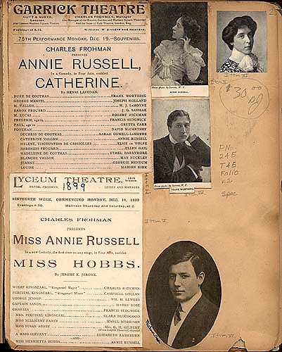 Annie Russell and actors in Theater Scrapbook Two, page 2