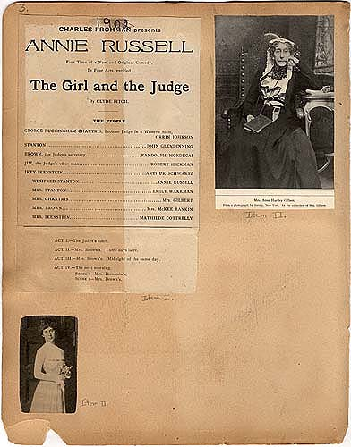 "Annie Russell and Mrs Anne H. Gilbert in ""The Girl and the Judge"" in Theater Scrapbook Two, page 3"