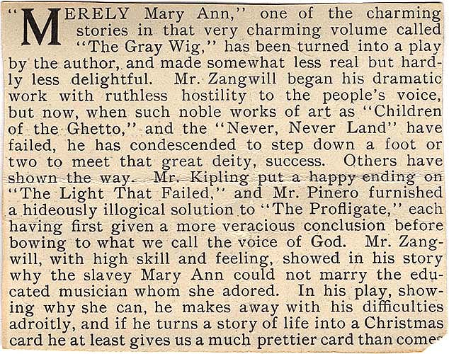 """Merely Mary Ann"" review in Theater Scrapbook Two envelope 1"