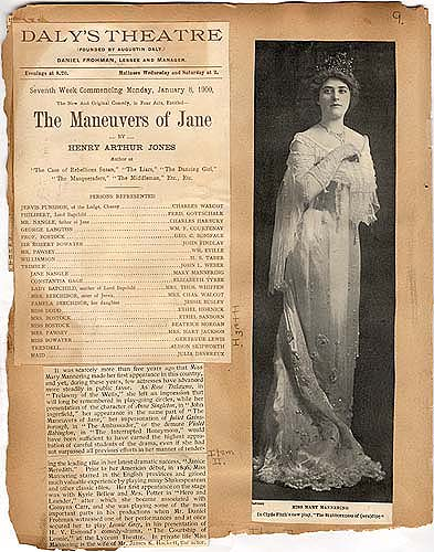 """the Maneuvers of Jane"" in Theater Scrapbook Two, pg 9"