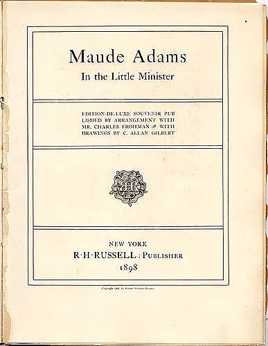 Maude Adams Souvenir book in Scrapbook 2, cover