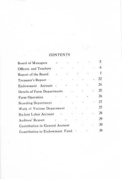 [p. 04] 1916 Annual Report - Contents
