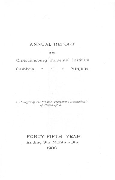 [p. 01] 1908 Annual Report Title Page