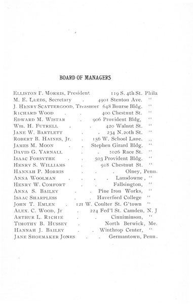 [p. 03] 1908 Annual Report Board of Managers