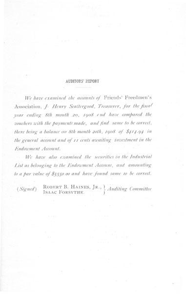 [p. 15] 1908 Annual Report