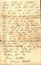 Letter from Hiram Matthew to his wife, Elmira, June 27, 1863; page 2
