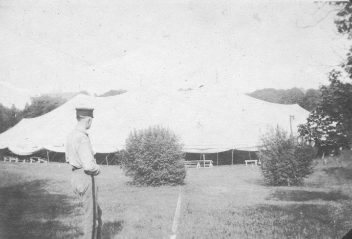 Circus tent on Drill Field for Va Tech's 50th Celebration in 1922