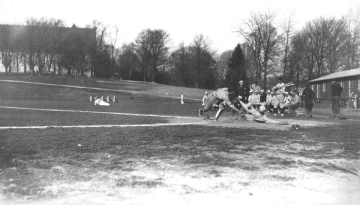 Baseball team on field at Virginia Polytechnic Institute